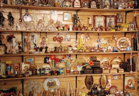 the orthodox church: Orthodox Church. Rila Monastery Bulgaria.Souvenir shop in the monastery complex. Editorial