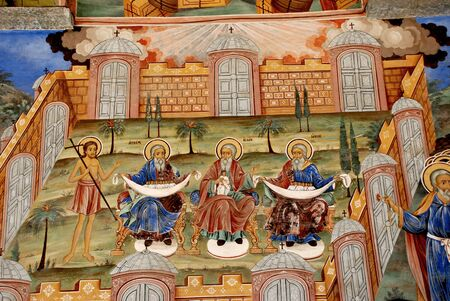 the orthodox church: Frescoes of the Orthodox Church. Rila Monastery Bulgaria