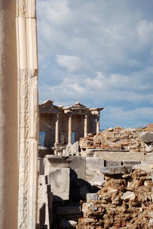 Ruins of the ancient Greek city Ephesus. Celsus Library in Ephesus, Turkey