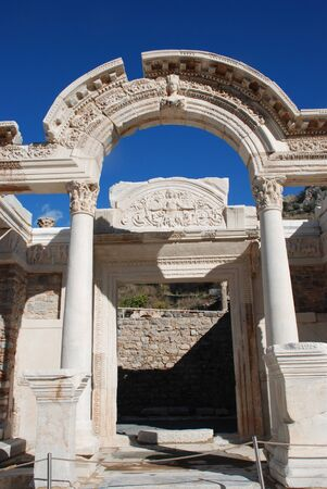 corinthian column: Temple of Hadrian, Ephesus, Turkey, Stock Photo