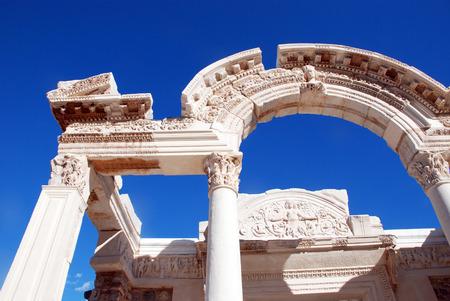 archaeological sites: Temple of Hadrian, Ephesus, Turkey, Stock Photo