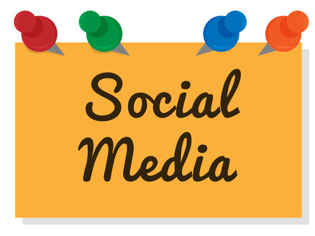 Social Media written on yellow paper with 4 pins to hold it - Text can be edited to your choice
