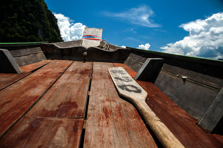 oar: On rowboat to islands with oar Stock Photo