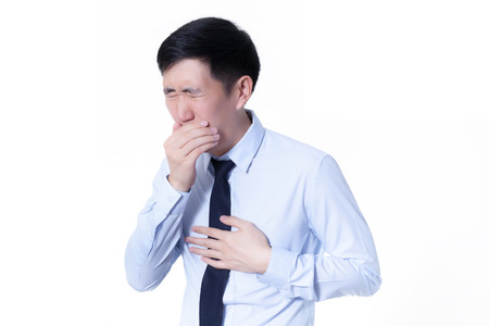 medical person: Asian businessman suffering from a bad cough Stock Photo