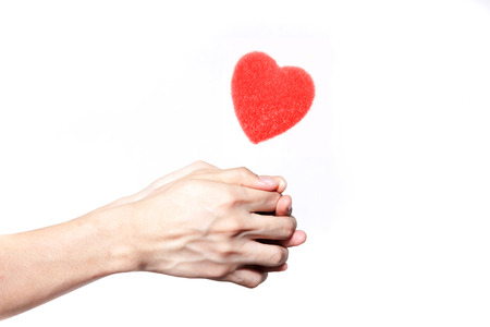 love life: Human hands giving love in white isolated background - giving love concept