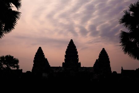 altocumulus: Silhouette of Angkor Wat with altocumulus clouds in twilight evening