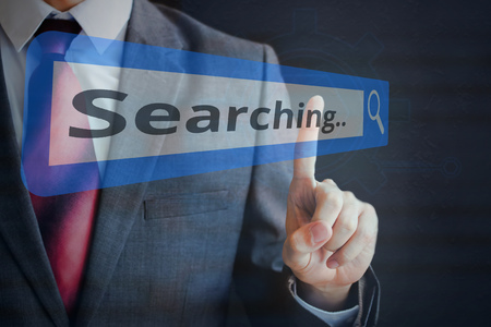 tapping: Businessman tapping and searching on search bar.