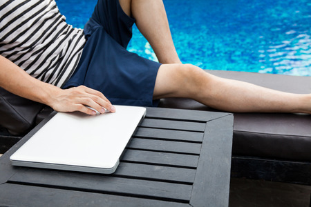anywhere: Digital Nomad people relaxing on summer vacation - work anywhere and passive income concept Stock Photo