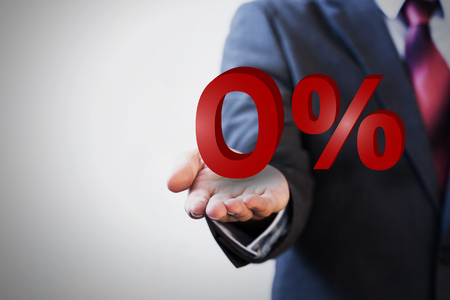 number zero: Businessman presenting zero percent graphic