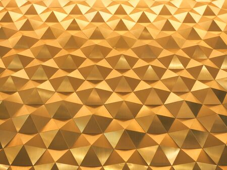 Golden Yellow low poly geometric abstract background in embossed triangular and polygon style Stock Photo