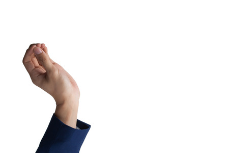 pinching: Businessmans hand on pinching or throwing something in the air. Stock Photo
