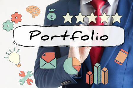 marketing research: Portfolio drawn on virtual board by businessman with cute illustrations