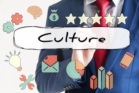 corporate culture: Culture drawn on virtual board by businessman - indicates corporate culture