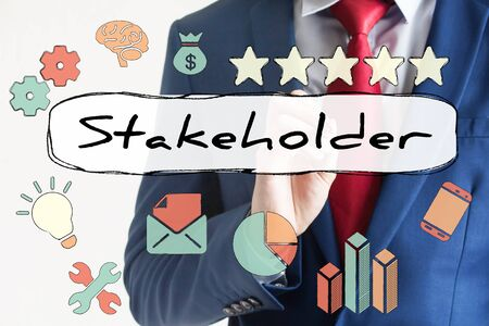 stakeholder: Stakeholder drawn on virtual board by businessman.
