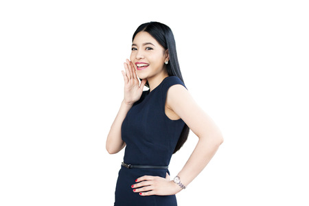 Asian woman shouting and giving message isolated on white background