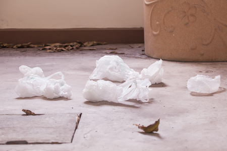 plastic bags: Plastic bags littered on the street Stock Photo
