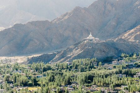 monastery nature: Nature and mountain landscape with stupa monastery on top of hill - in Leh Ladakh, India. Stock Photo
