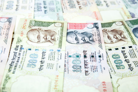 five rupee: Close-up of Indian Rupees bank notes for business and finance background.