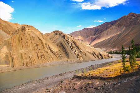 Indus river connected with another river in Leh, India. Stock Photo