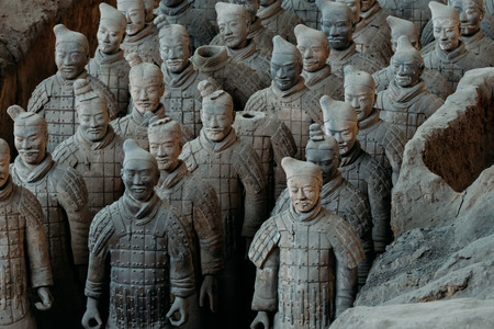Close-up of famous Terracotta Army of Warriors in Xian, China Stok Fotoğraf
