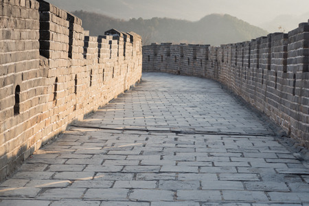 The Great Wall of China on scenic footpath trail leading ways - China Travel concept Stock Photo