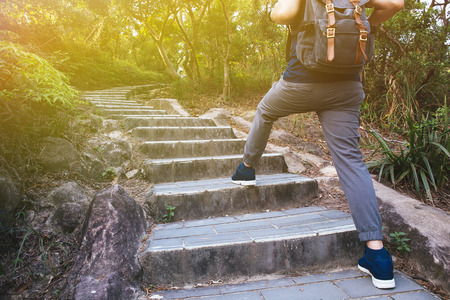 he: Man hiking in the forest as he climbs on the stair - travel and hiking