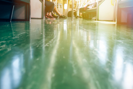 Inside subway underground train interior in metro city - low angle