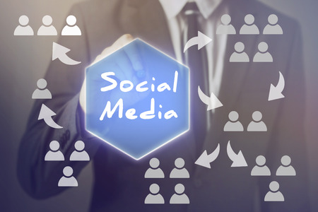 Social Media word with people icons sharing and viral concept  Stock Photo