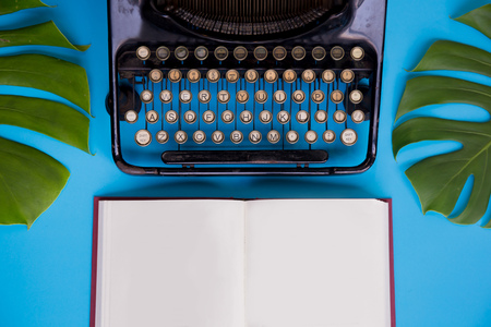 Open book with blank paper pages decorated with typewriter and leaves over bright blue background - with copy space Reklamní fotografie - 94995220