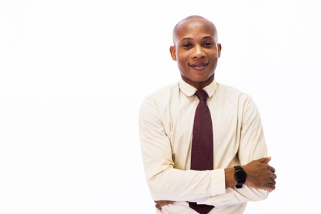 Attractive happy African American smiling professional businessman executive isolated over white background Stock Photo