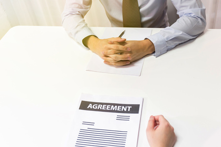Businessman talking, making a deal, interviewing, negotiating with other businessman or applicant. Various kinds of business situations can be applied. Stock fotó - 99093962