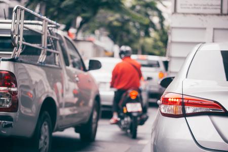 Traffic jam in crowded urban city on street lane