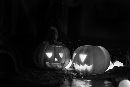 Happy and creepy traditional Halloween jack-o-lantern pumpkins with lights in the forest - in black and white - with copy space