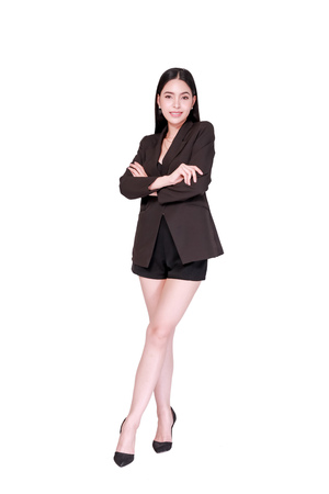 Elegant and modern Asian happy smiling business woman in style isolated over white background