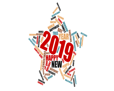 2019 Happy New Year word cloud with relevant words isolated over white background Stock Photo - 115237456