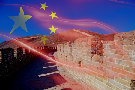 Great Wall of China Landscape - Tourist Attraction in Beijing, China blended with national China flag Stock Photo