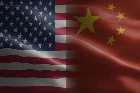Flag of United States of America against China - indicates partnership, agreement, or trade wall and conflict between these two countries Stock Photo