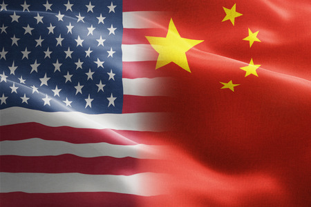Flag of United States of America against China - indicates partnership, agreement, or trade wall and conflict between these two countries Archivio Fotografico - 116599930