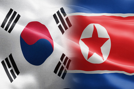 Flag of South Korea and North Korea - indicates partnership, agreement, or trade wall and conflict between these two countries Stock Photo
