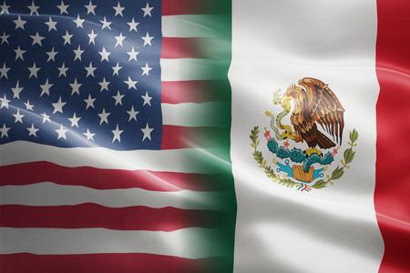 Drapeau des États-Unis d'Amérique et du Mexique - indique un partenariat, un accord ou un mur commercial et un conflit entre ces deux pays