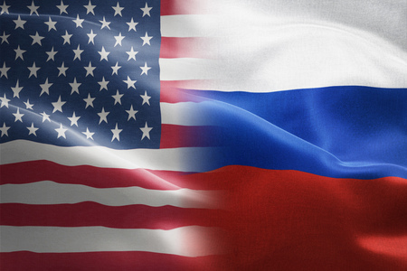 Flag of United States of America and Russia - indicates partnership, agreement, or trade wall and conflict between these two countries Stock Photo