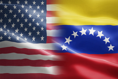 Flag of USA and Venezuela - indicates partnership, agreement, or trade wall and conflict between these two countries Foto de archivo - 116599936