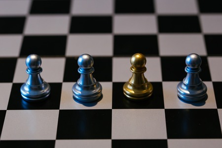 Closeup golden pawn placed amidst silver chess pieces on chessboard - Black sheep idiom concept