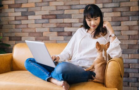 Young happy smiling Asian woman using laptop on her lap and Chihuahua puppy pet sitting together on sofa at cozy home