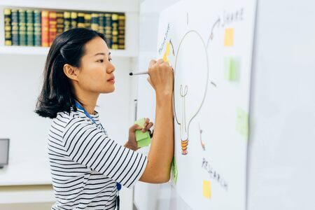Young Asian girl writing ideas with pen on white board in office room. One business woman planning and thinking of business solutions