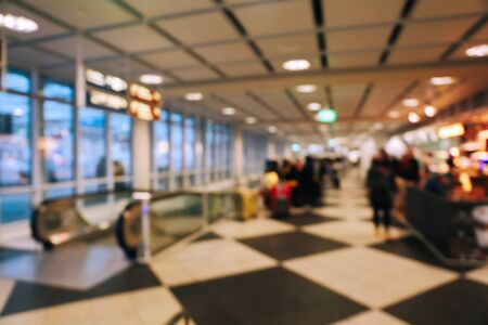 Blurred background of airport in Munich, Germany in early morning