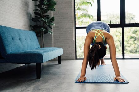 Strong fitness girl in athletic exercise clothes doing a plank workout. Asian woman training at home in her living room with cozy sofa home interior setting with copy space