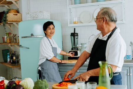 Senior Asian man and woman smiling and looking at each other. Elderly couple standing in cozy kitchen and cooking lunch together at home.