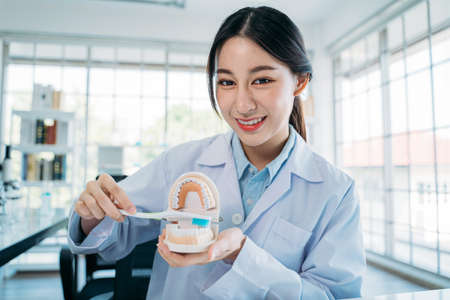 Portrait of beautiful young Asian female dentist demonstrating right way to brush teeth holding mouth model and toothbrush while recording video blog for online teaching