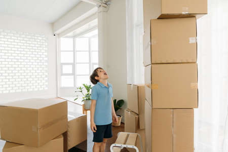 Excited and shocked caucasian cute little boy staring and pile of cardboard boxes during shifting home process in new house with a stool Banque d'images